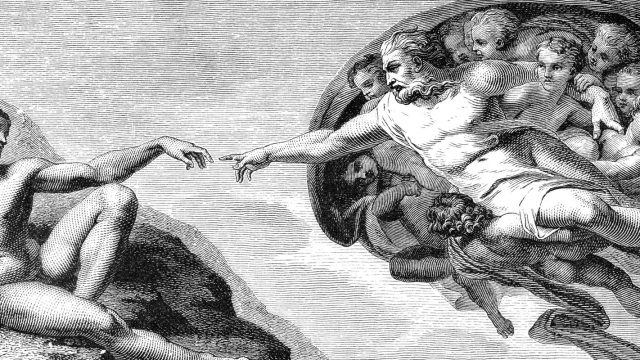 Michelangelo's The Creation of Man from the ceiling of the Sistine Chapel - Illustration
