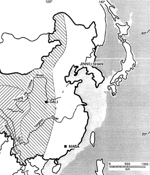 Figure 1: ArchaicHomo sapienscrania in China (Adapted from Pope, 1992)