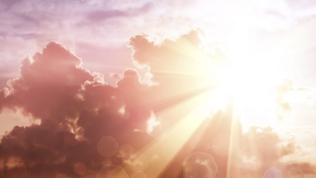 Sunlight breaking through clouds