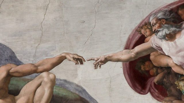 Creation of Adam, fresco painted by Michelangelo (1475-1564), Sistine Chapel Ceiling (1508-1512) Rome, Vatican