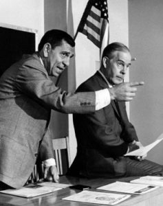 Sergeant Joe Friday (left), played by the late Jack Webb, and Officer Bill Gannon, played by the late Harry Morgan, on the set of on the classic TV program, Dragnet.