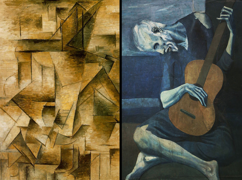 "Left to Right: ""The Guitar Player"" and ""The Old Guitarist"", both by Pablo Picasso, public domain"