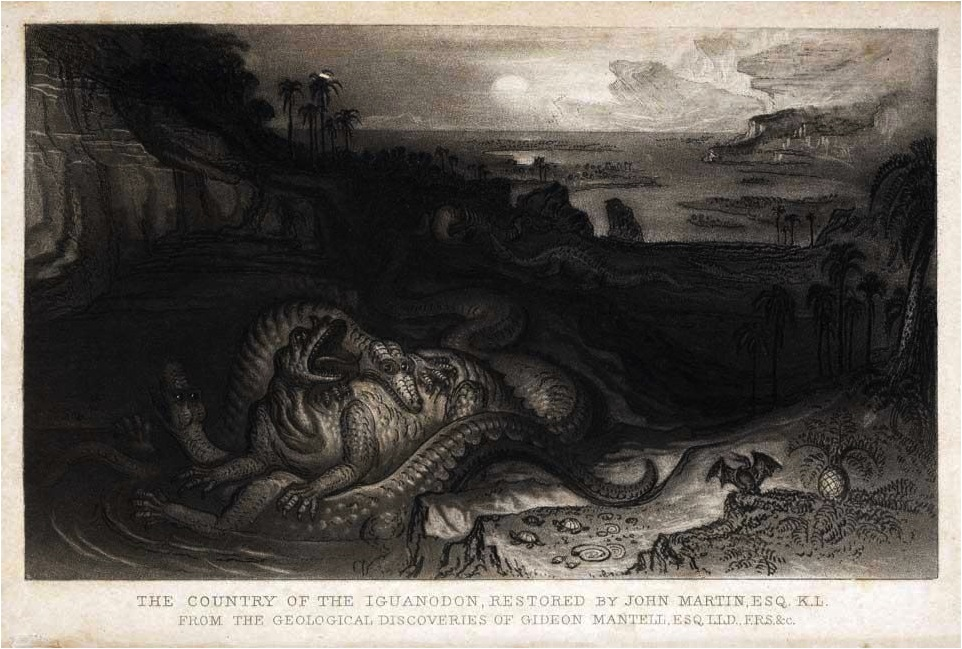 iguanodon by john martin for gideon mantell