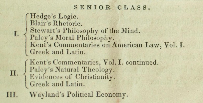 yale college course catalogue 1838 1839