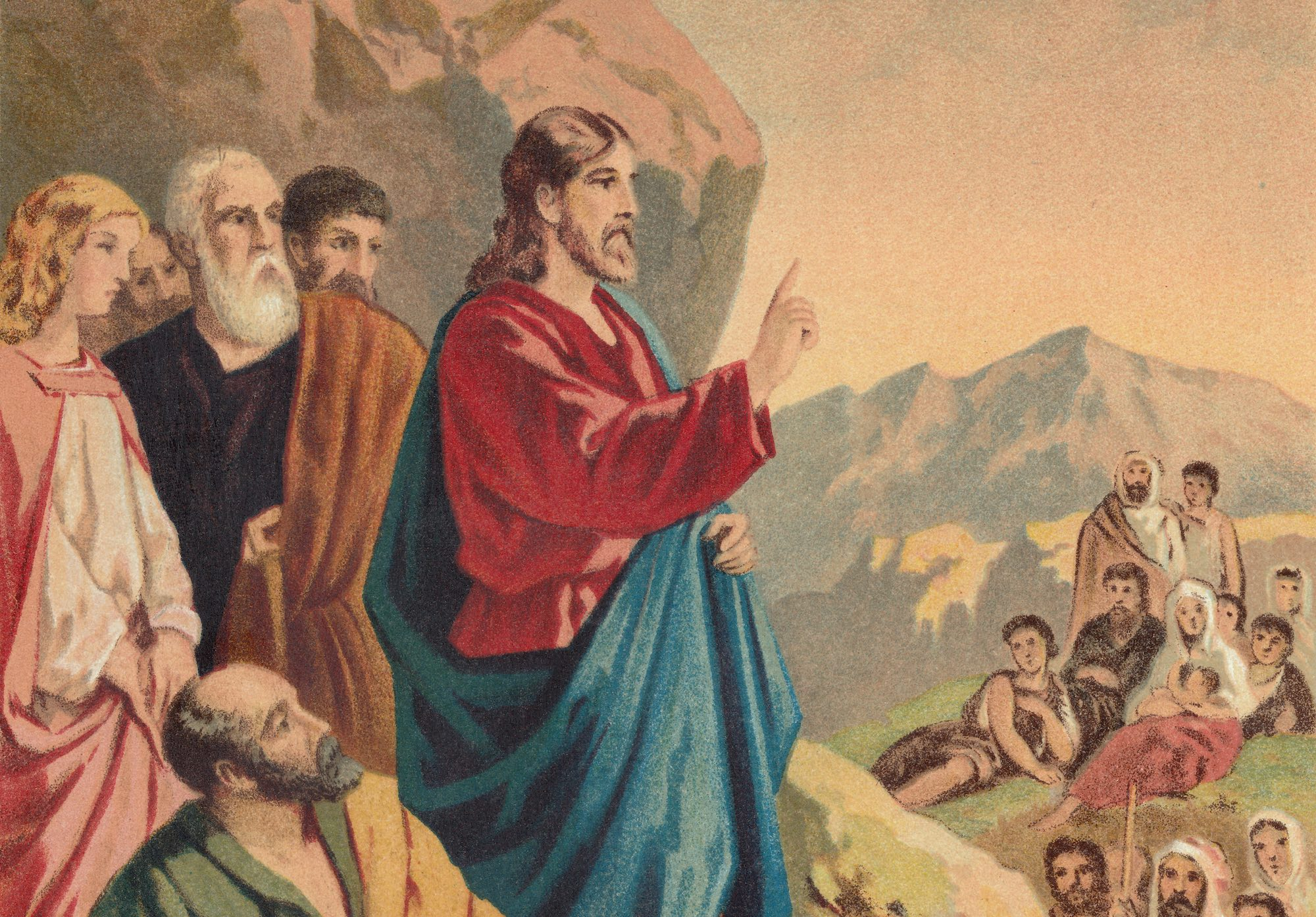 Illustration of Jesus teaching on Sermon on the Mount
