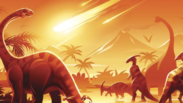 cartoon image of a meteor coming for dinosaurs