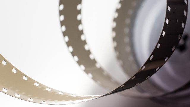 film stretched out in a spiral