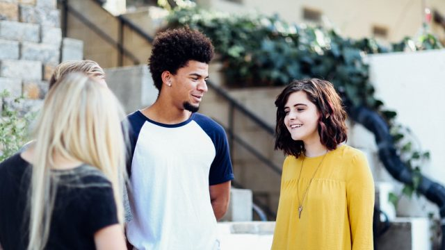 students talking to each other
