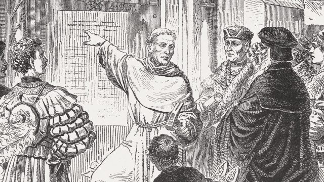 illustration of Martin Luther pointing to the 95 theses on a door