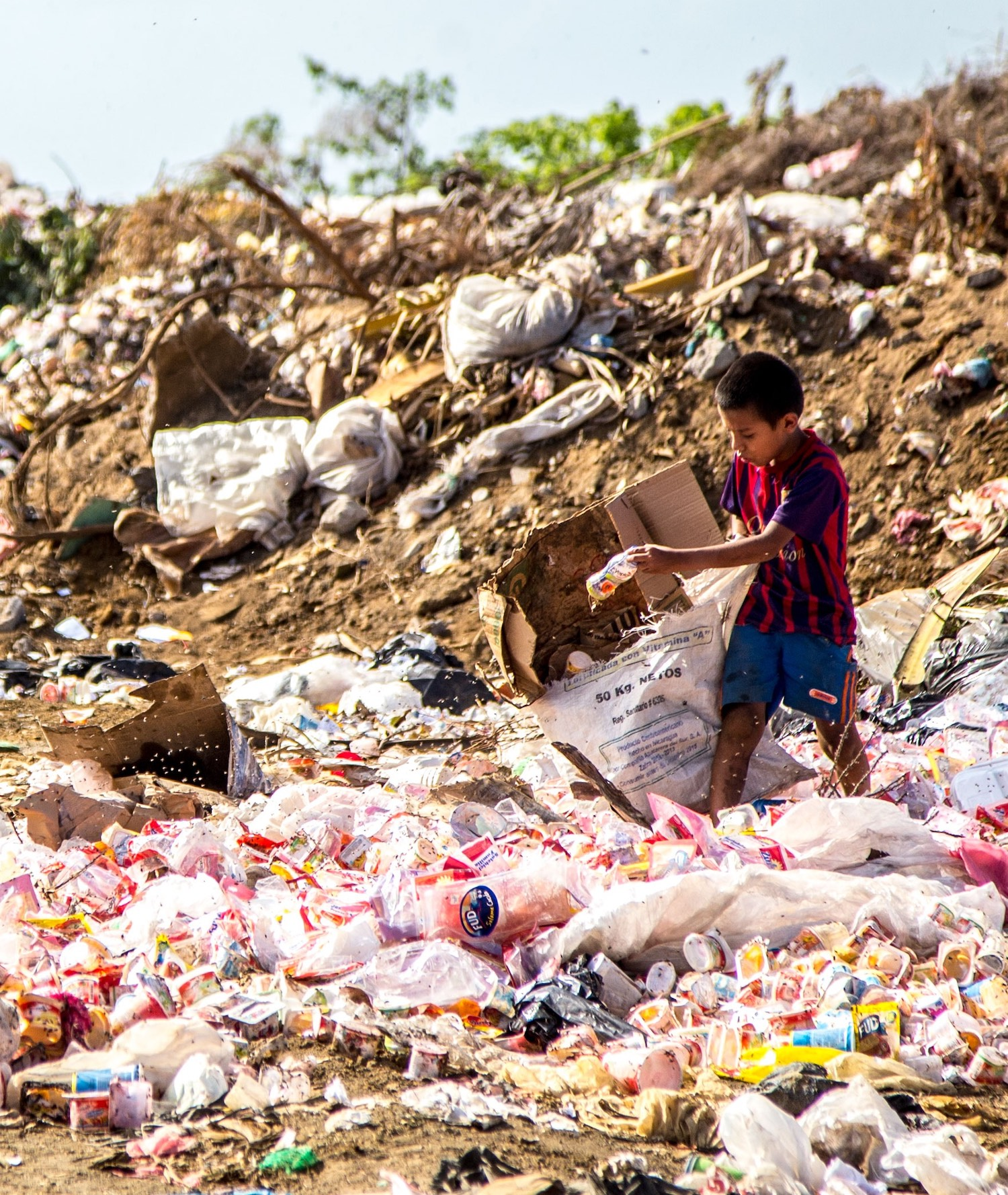boy sorting through trash