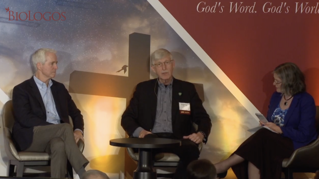 John Ortberg, Francis Collins and Deb Haarsma having a conversation on stage