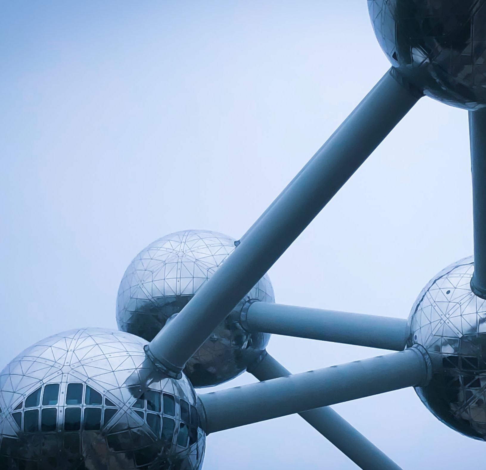 close up of an atom sculpture