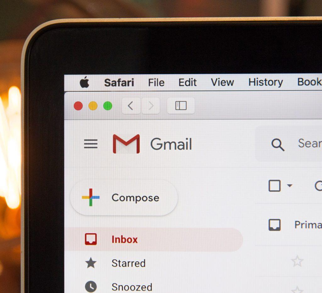 computer screen displaying gmail