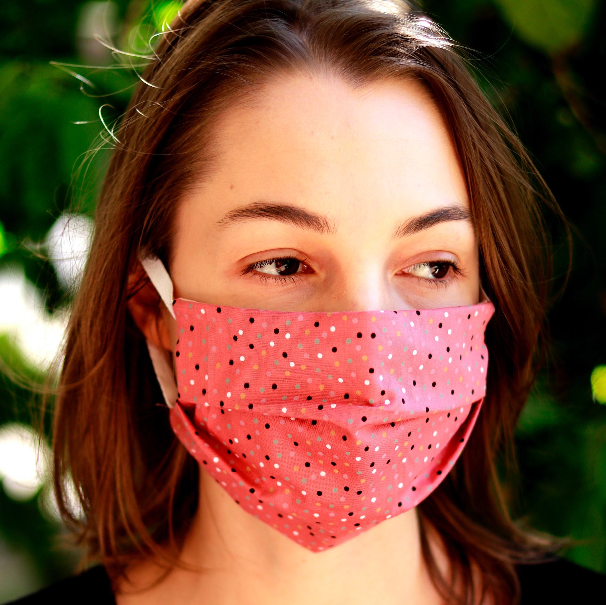 woman wearing a fabric mask