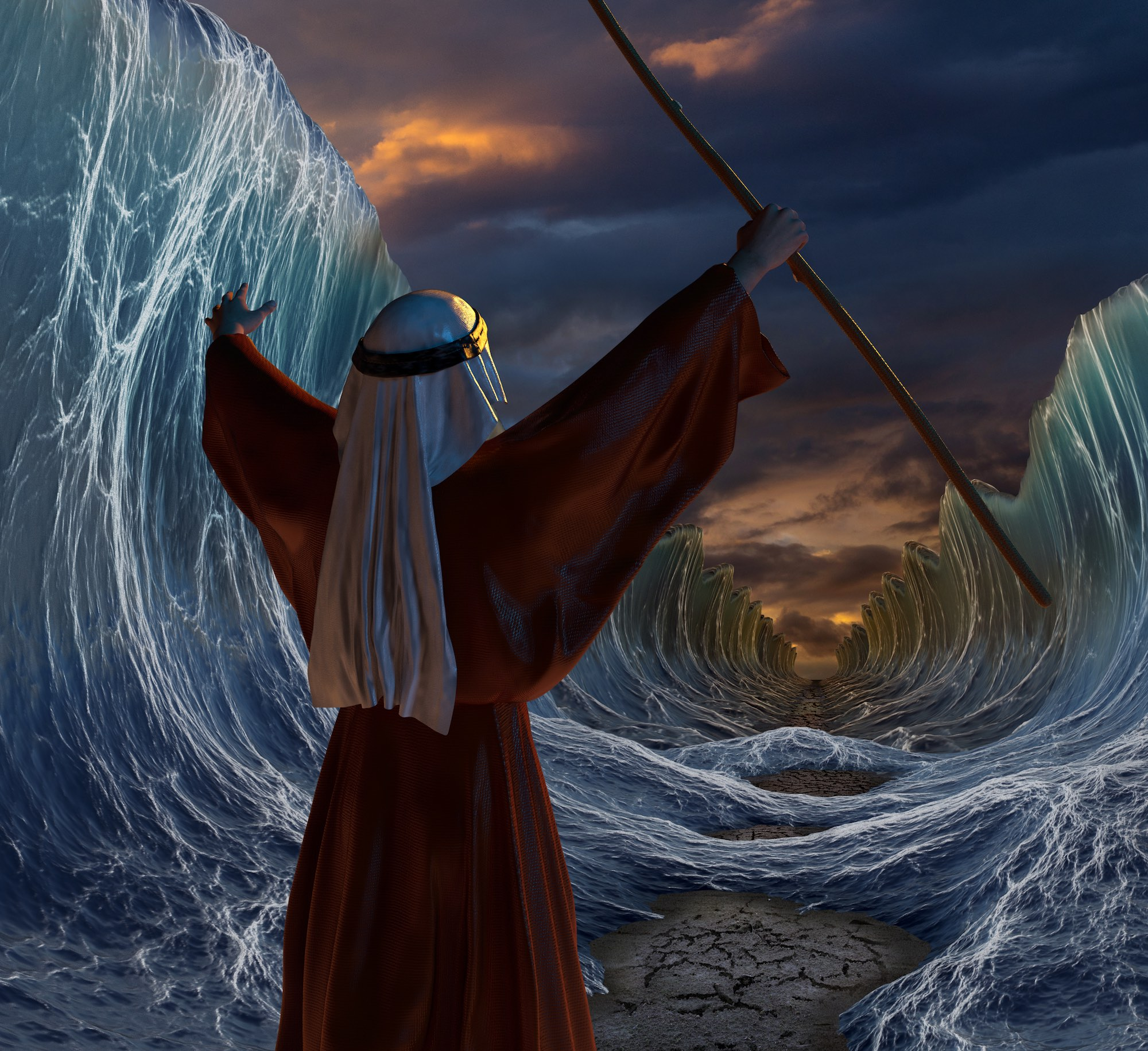 rendering of man (moses) parting the Red Sea