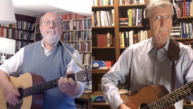 NT Wright and Francis Collins play their guitars in their homes, in a split screen
