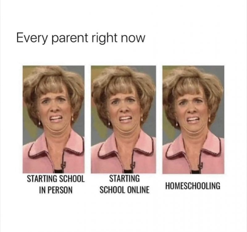 "A meme that has the words ""Every parent right now"" over three copies of comedian Kristen Wiig's Aunt Linda character looking absolutely horrified. The bottom was labeled with the options, ""starting school in person,"" ""starting school online,"" and ""homeschool."""