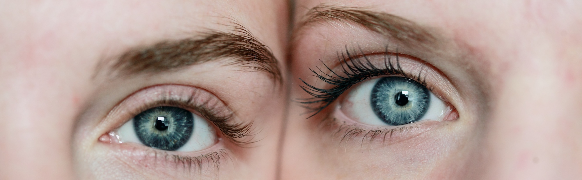 two women's eyes next to each other