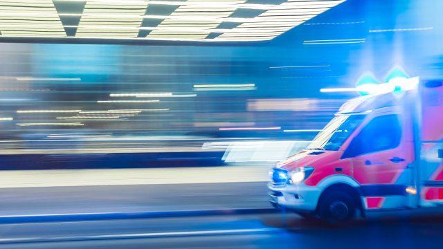 blurred ambulance with lights