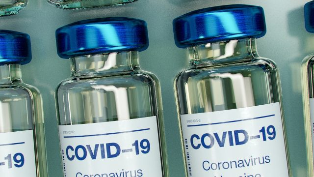 rendering of COVID 19 vaccine vials
