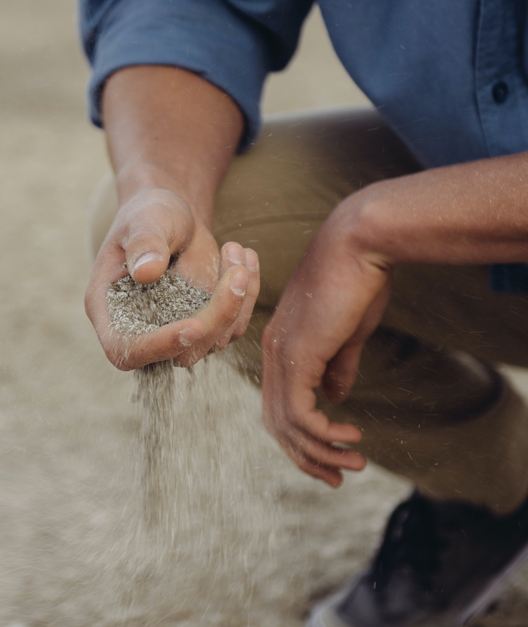 hand holding dirt