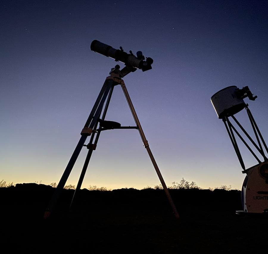 telescope set up at night