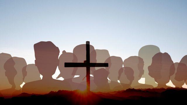 Cross in front of blue sky