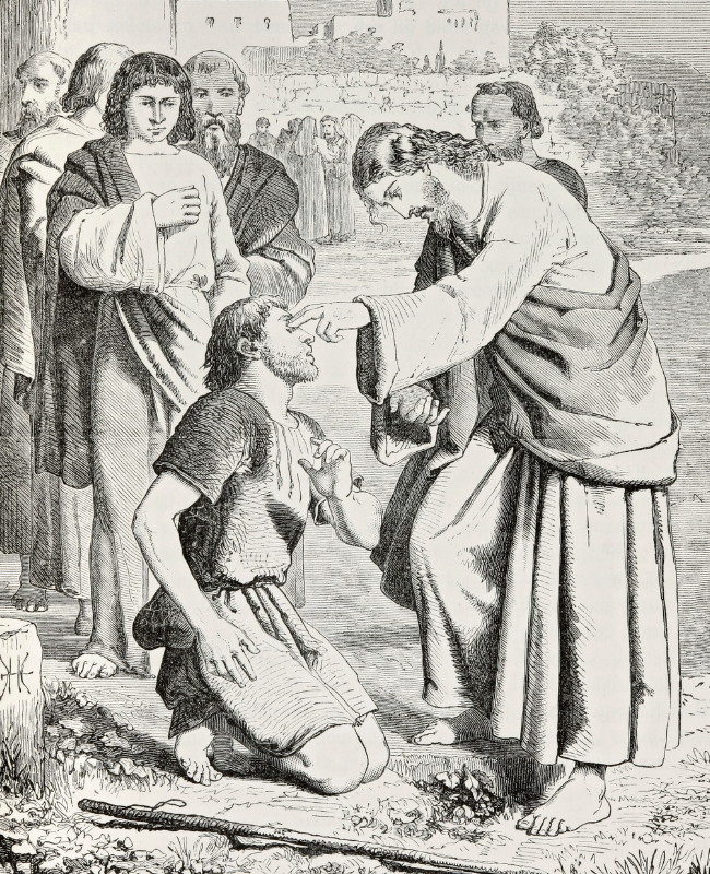 Biblical engraving depicting Jesus healing the blind man, Gospels (1873)