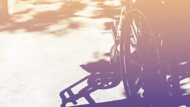 Close up of wheelchair